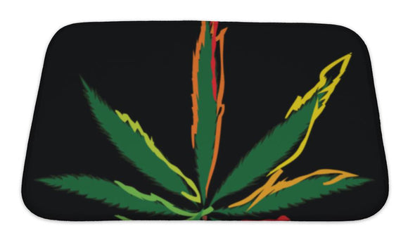 Bath Mat, Colorful Image Of Cannabis Leaf In Abstract Art Style