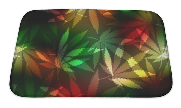 Bath Mat, Cannabis Leafs On Blur Rastafarian