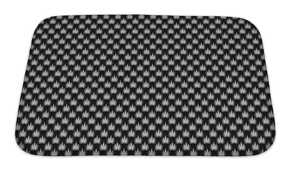 Bath Mat, Black And White Marijuana Leaf Pattern Repeat