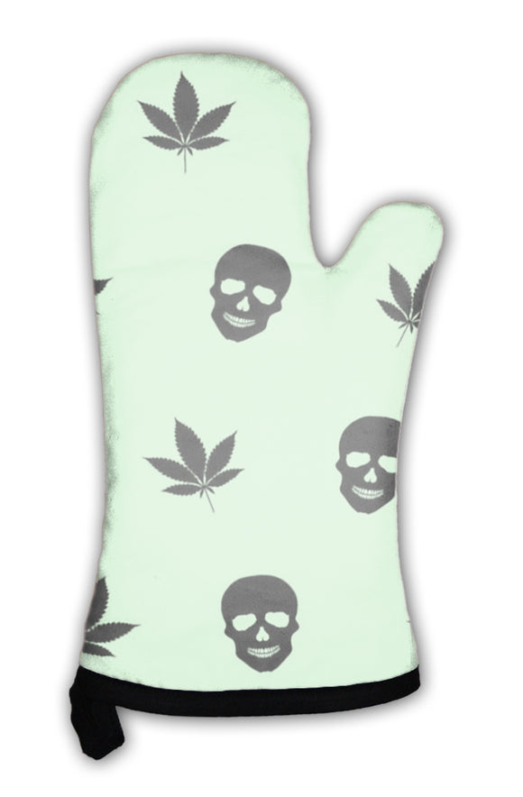 Oven Mitt, Abstract Colorful Pattern With Marijuana Leaves And Human Skulls