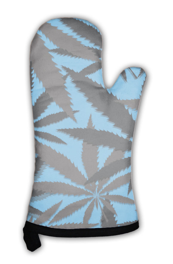 Oven Mitt, Wallpaper With Leaves Of Cannabis
