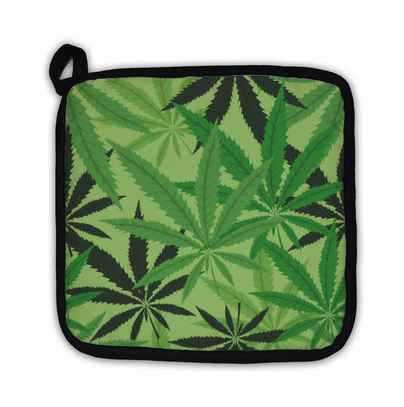 Potholder, Green Hemp Floral Cannabis Leaf Marijuana Leaves Illustration