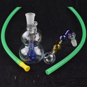 "Gourd Shaped Oil Burner Rig Water Bongs Mini 3.5"" inch Downstem Recycler Glass Water Bong with 10mm Oil Burner Attachment and Hose"