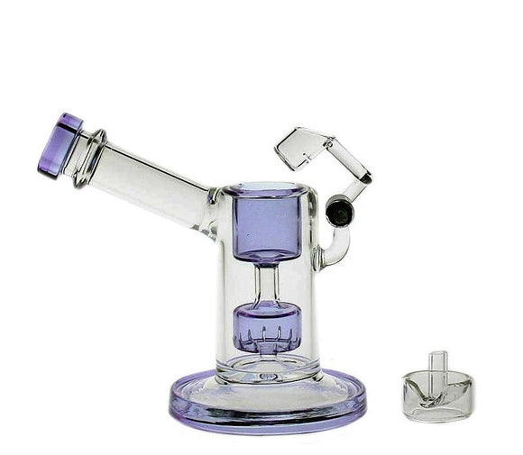SAML GLASS 13.5cm Tall Glass bongs glass mini bubbler with quartz swing smoking pipe Purple WITH CAPS PG5042(FC-MINI)
