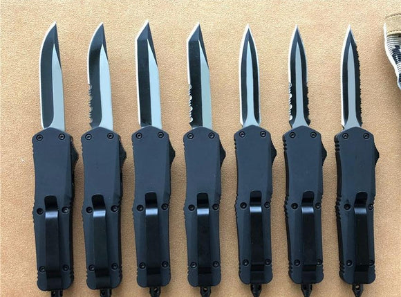 Black Small A07 D/A Auto Knives Custom Knife 440C Two-Tone Blade Mini Tactical Tool Survival Knives 7 Blade Styles