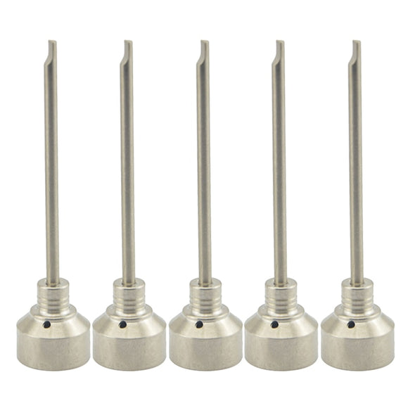 5 Piece Set 18mm Titanium Nail GR 2 Carb Cap with One Hole 89mm Long Dabber Titanium Nail Nail for Glass Bong Water Pipe
