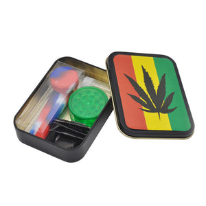 Miniature Sized Travel Friendly Smoker Kit - Includes 1 Silicone Hand Pipe, 5 Packs Of Screens, A Grinder & Glass Tip All Packed In A Reggae Style Tin.