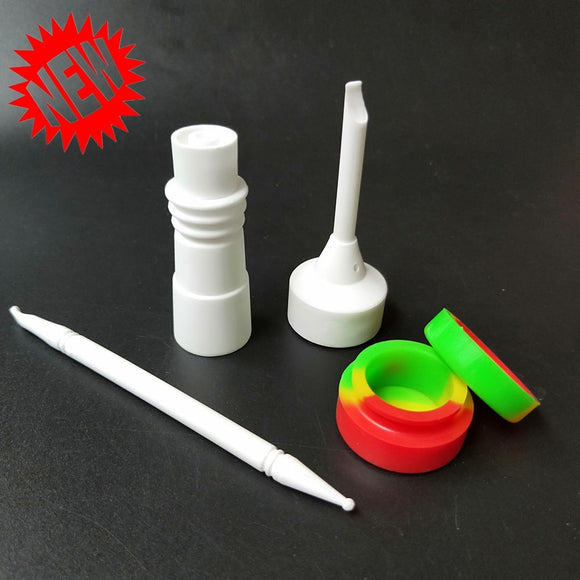 New Style 16mm Enail Domeless Ceramic Nail Universal Fits 14mm-18mm Female & Male Ceramic Carb Cap Dabbers Silicone Jar Bong Tool Set