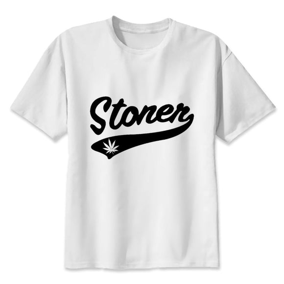 Mens White Short Sleeve Stoner T-Shirt Men Tops Size S-XXXL