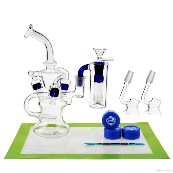 REANICE BOX Newest Glass Recycler 14.5mm Jonit Blue + Silicon mat/Silicon wax/Metal tools spoon glass oil burner pipe Cheap Bong