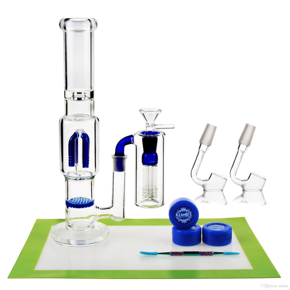 REANICE Percolator Glass Bong Cheap Glass Recycler 14.5mm Jonit Blue + Silicone mat/Silicone wax/tools spoon straight tube bong Cheap Bong