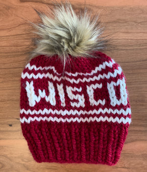 Wisconsin Knitted Hat with Fur Pom - Red