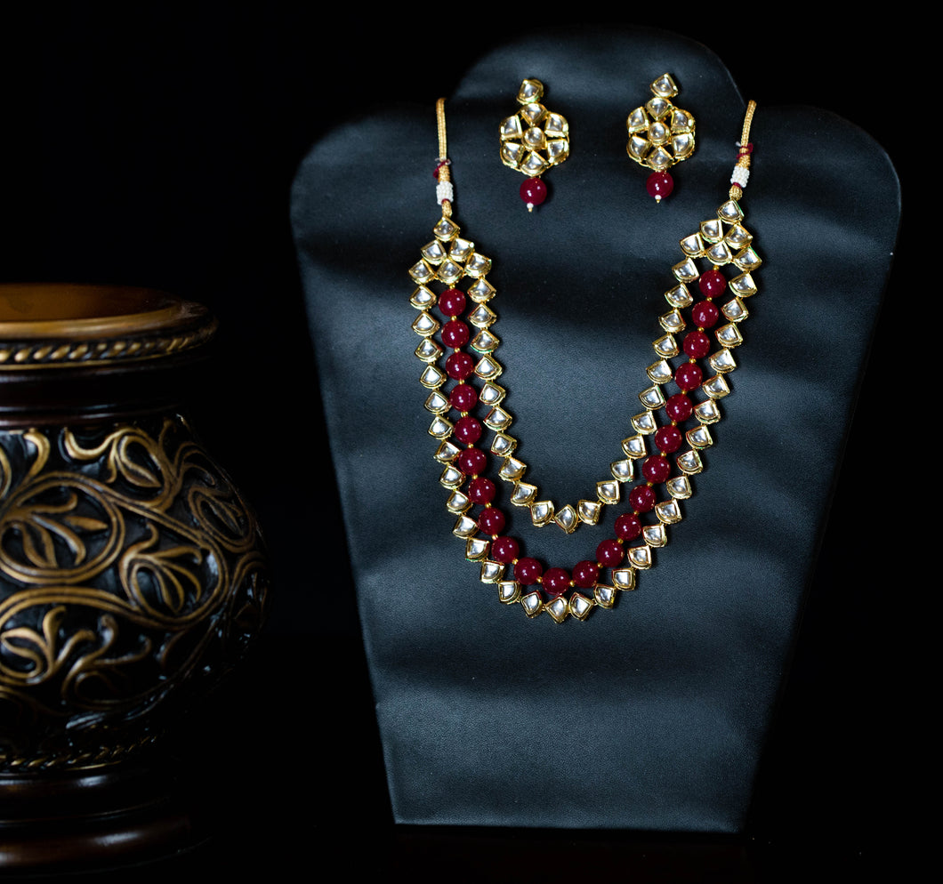 Red Kundan Beads Necklace Set