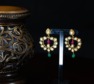 Kundan Chandbali With Pink And Green Drop Earrings