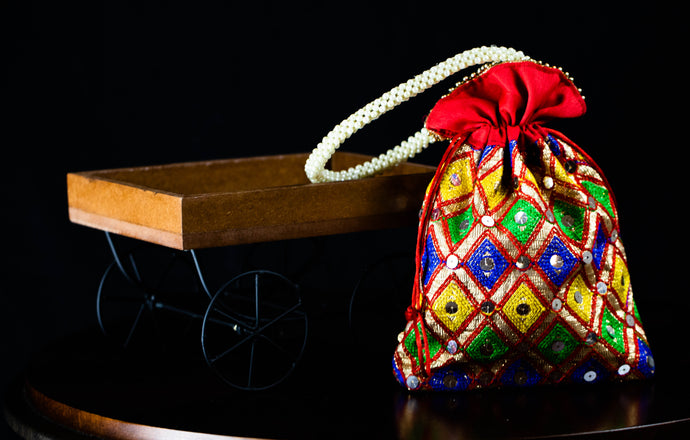 Red Thread Embroidery Potli