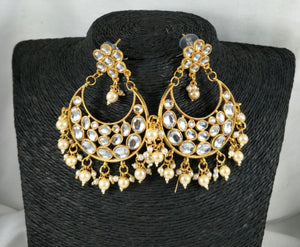 Lightweight Kundan Polki Chandbalis With White Bead Drops