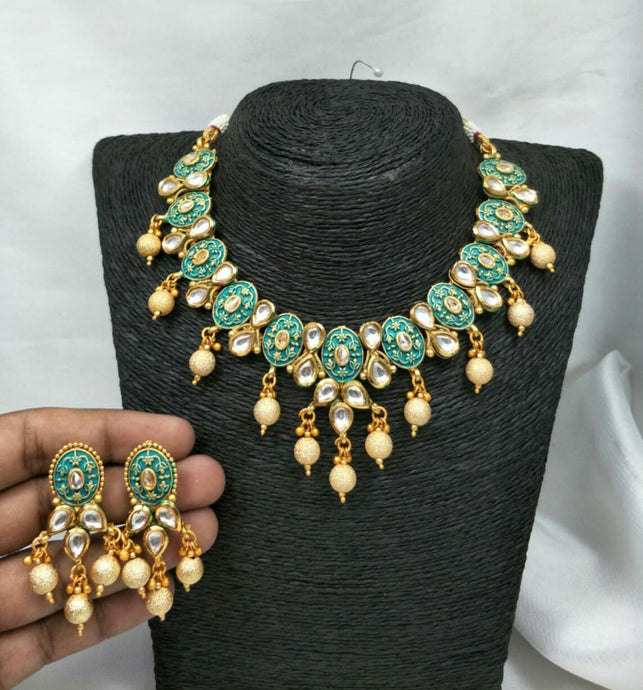 Meenakari Kundan Circle Set