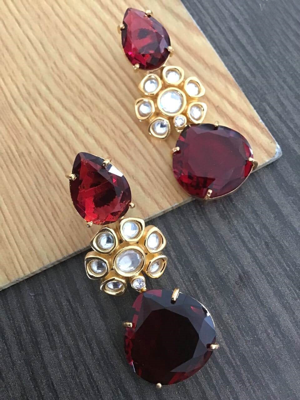 Buy Ruby kundan stone Indian Party Aarti Earrings: Perfect Panache