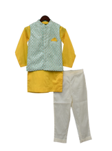 Load image into Gallery viewer, Boys Aqua Embroidery Nehru Jacket Set