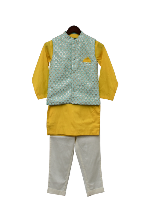 Boys Aqua Embroidery Nehru Jacket Set
