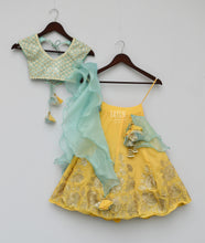 Load image into Gallery viewer, Girls Aqua Thread Embroidery Choli With Yellow Gotta Lehenga