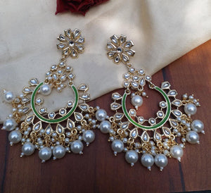 Buy Kundan pearl Chandbali Indian Party Arsha Earrings: Perfect Panache