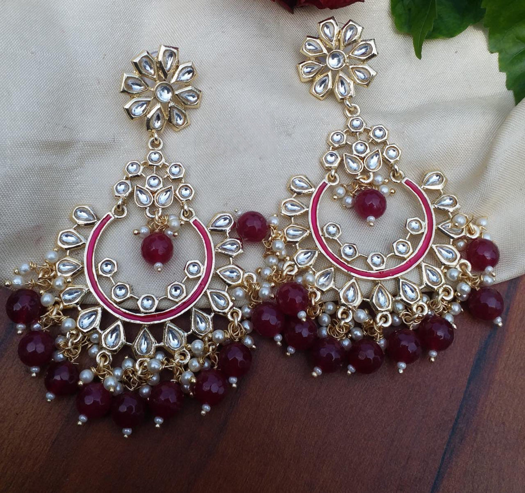 Buy Kundan Ruby Chandbali Indian Party Ayana Earrings: Perfect Panache