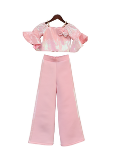Girls Baby Pink Sequence Top With Pant