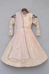 Girls Baby Pink Embroidery Anarkali With Frill Dupatta