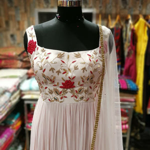 Baby Pink Anarkali With Handwork