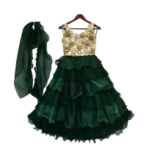 Load image into Gallery viewer, Girls Beige Choli With Ombre Green Organza Lehenga