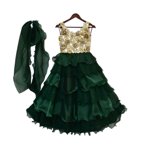 Girls Beige Choli With Ombre Green Organza Lehenga