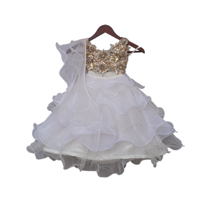 Girls Beige Choli With White Organza Lehenga