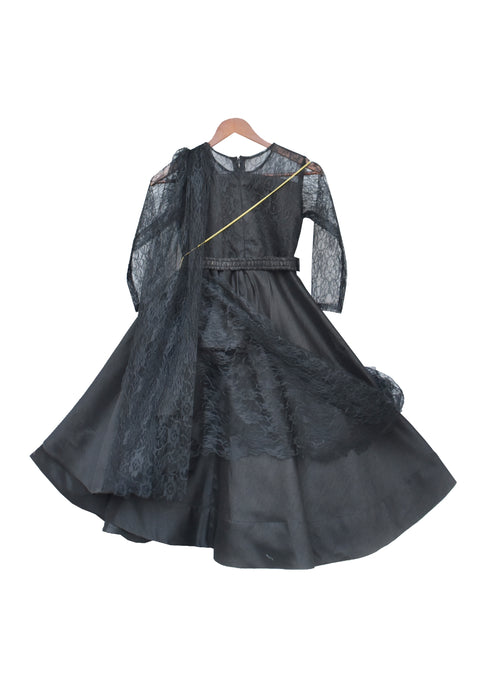 Girls Black Silk Anarkali