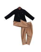 Load image into Gallery viewer, Boys Black Jacket With Kurta & Churidar