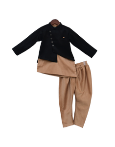 Boys Black Jacket With Kurta & Churidar