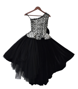 Girls Black Velvet & Net Gown