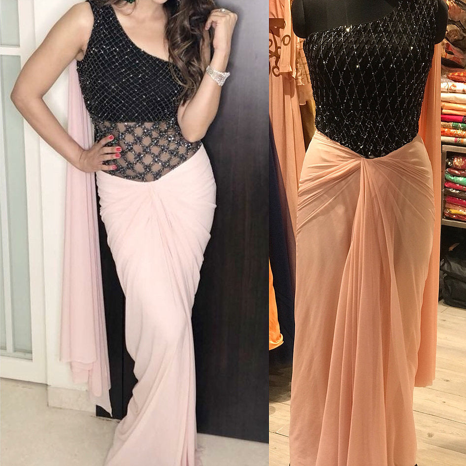 Black Baby Pink Handwork One Shoulder Drape