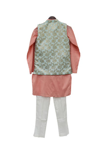 BOYS Blue Chanderi Jacket With Kurta And Pant