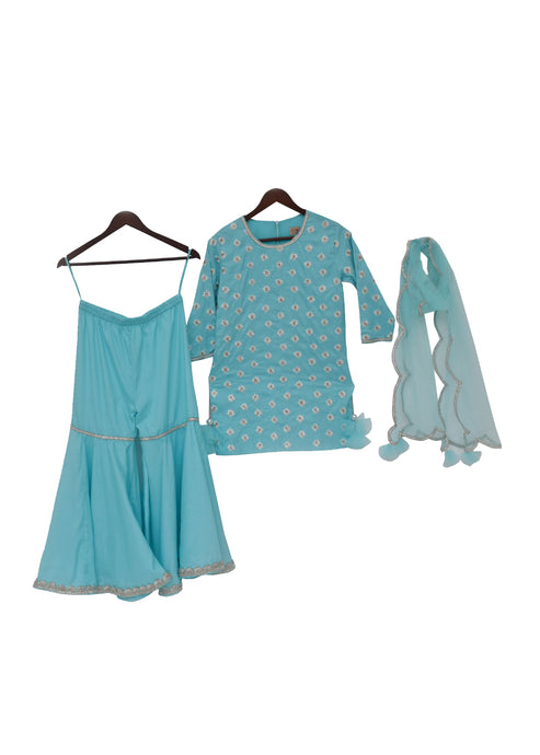 Girls Blue Embroidery Kurti With Sharara And Dupatta