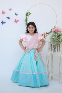 Girls Blue Lehenga With Pink Choli And Mirror Boti Dupatta
