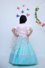 Load image into Gallery viewer, Girls Blue Lehenga With Pink Choli And Mirror Boti Dupatta