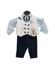 Load image into Gallery viewer, Boys Blue Shirt With Pant And White Waist Coat Set