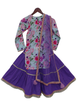 Load image into Gallery viewer, Girls Blue Cotton Printed Kurti With Purple Cotton Sharara