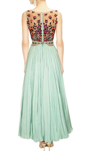 Perfect Panache Blue Gown With Belt And Dupatta Online USA