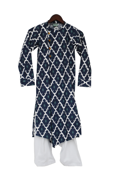 Boys Blue Kurta With White Salwar