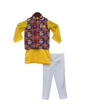 Load image into Gallery viewer, Boys Blue Patola Nehru Jacket With Kurta & Pant