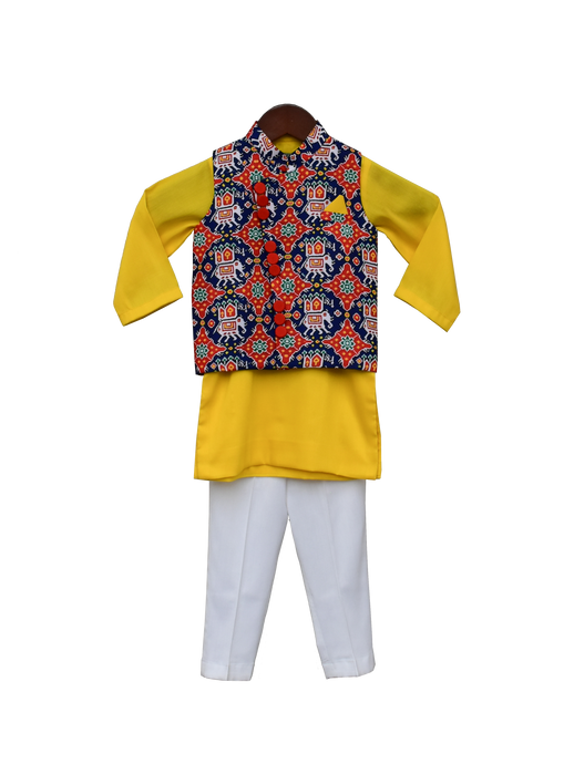 Boys Blue Patola Nehru Jacket With Kurta & Pant