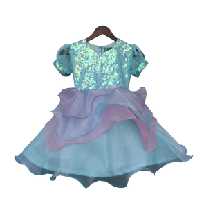 Girls Blue Sequence Yoke With Organza Frock