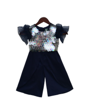 Load image into Gallery viewer, Girls Blue Soft Sequins Top With Plazo